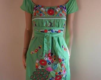 Mexican dress, embroidered dress, hippie dress, handmade dress, neon green