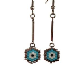 Evil eye dangle earrings - handmade jewelry - beaded earrings - luck - gift for her - fashion evil eye - evil eye beaded earrings-