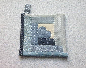 vintage fabric log cabin blue heart hand quilted insulated potholder with loop to hang