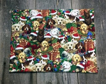 christmas puppies  pet food mat or anything you could find it useful for