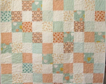 """Peach and Mint Baby Quilt, baby blanket, 4"""" squares, crib quilt"""