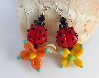 Ladybug and Flower Earrings - Handmade Lampwork Bead Art - SRA