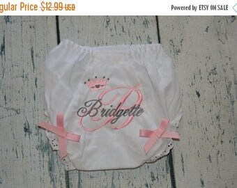 ON SALE Baby Bloomers Princess Tiara, Monogrammed Baby Bloomers, Diaper Cover Princess Tiara