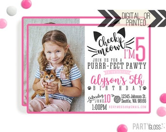 Cat Invitation | Digital or Printed | Kitty Cat Invitation | Kitty Invitation | Cat Birthday Invite | Check Meowt Invitation | Cat Theme