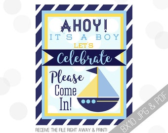 Nautical Baby Shower Printable Sign | Baby Welcome Sign | Ahoy Door Sign | Ahoy It's A Boy | Baby Shower Sign | Navy Blue Yellow Shower