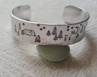 """Camping Is My Happy Place Cuff Bracelet - Theme Cuff - Campaholic - For The """"Intents"""" Camper - Hand Stamped 3/4 Inch Cuff"""