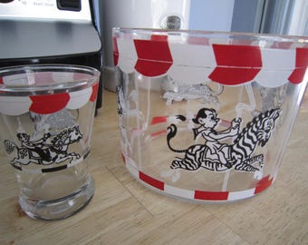 Carousel Ice Bucket and Shot Glass Barware