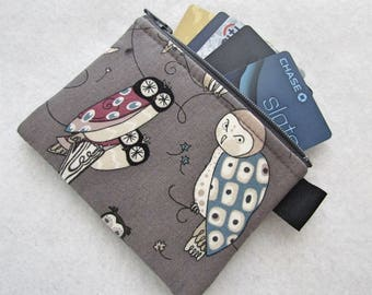 Spotted Owls Womens Credit Card Case Zippered Coin Purse Wallet Business Card Holder Alexander Henry Funny Owl Mushroom Gray Blue MTO