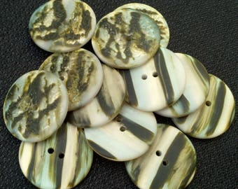 SEE SHOP ANNOUNCEMENT for 60% off code - Double Sided Multi Colored Buttons - 1 1/8 inch x 4
