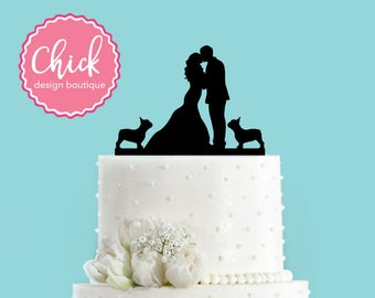 Couple Kissing withTwo French Bulldogs Wedding Cake Topper