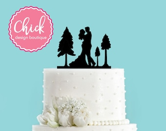 Autumn Forest Couple Bride and Groom Fall Mountain Wedding Acrylic Wedding Cake Topper