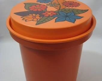 Vintage Rubbermaid Orange Floral Canister