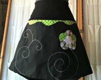 Chihiro Apple green and black flower skirt