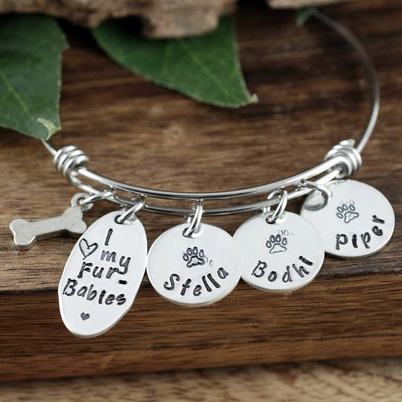Dog Mom Bracelet, Pet Name Bracelet, Love my Furbabies, Personalized Bangle Bracelet, Dog Name Jewelry, Dog Paw Bracelet