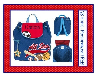 28 Fonts- Toddler Boy's Personalized SPORTS Blue Quilted BACKPACK- Small Preschool, Diaper or Book Bag