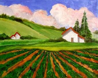 Impressionist California Plein Air Landscape Pescadero Half Moon Bay Farm Field Barns Lynne French 11x14