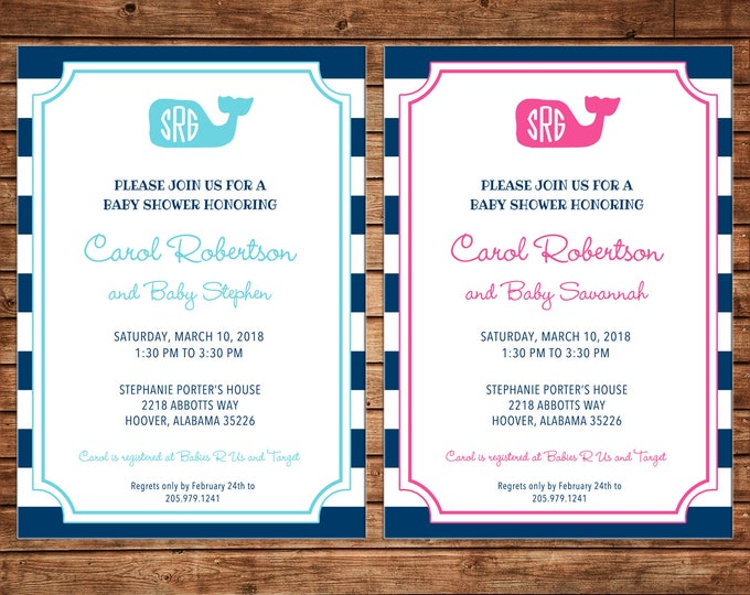 Boy or Girl Invitation Monogram Preppy Whale Baby Shower Birthday Party - Can personalize colors /wording - Printable File or Printed Cards