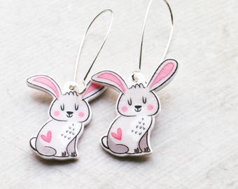 Handmade Illustrated Bunny - Rabbit - Dangle - Drop - Earrings
