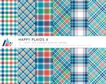Happy Plaids 4 Digital Papers - 12 patterns for scrapbooking, cards, invitations, printables and more - instant download - CU OK