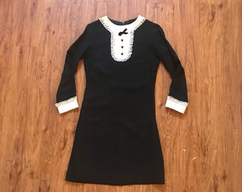 Vintage 60s Black Tuxedo Lacr Bodycon Mini Dress
