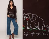 Animal Sweater ELEPHANT 70s Sweater Lay Off My Tail Vintage Embroidered 80s Novelty V Neck Bohemian Pullover Boho Slouch Brown Medium