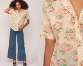 Floral Blouse Button Up Shirt 70s Boho Top Vintage 1970s Short Sleeve Button Down Top Off White Pink Yellow Medium