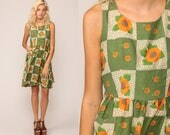 90s Floral Dress Grunge Mini Boho Green Checkered Sunflower Print 1990s Bohemian Chic Vintage Sleeveless Summer High Waist Small