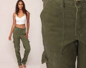 Army Pants CARGO Pants Military High Waisted Combat Olive Green 90s Vintage Utility Punk Grunge Olive Drab Army Pocket Medium