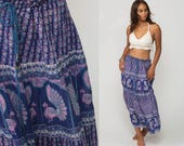 Boho Skirt Gypsy Maxi Hippie PEACOCK BIRD Broomstick 90s Bohemian India Floral Indian Gauze 1990s Ethnic Blue Extra Large xl