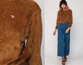 Velour Sweatshirt 80s HORSE Shirt Brown Sweater BUTTON SHOULDER Slouchy Long Sleeve 1980s Retro Boho Pullover Jumper Medium