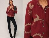 Fleece Jacket 90s Jacket DEER PRINT Grunge Boho Hiking Petroglyph Bird Sun Vintage Retro Vintage Red Button Up 1990s Medium