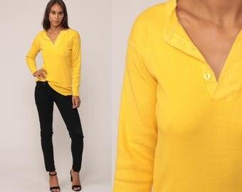 Yellow Shirt Long Sleeve Polo Henley T Shirt 80s Grunge Tshirt Under Shirt Hipster Retro Tee Vintage Normcore Plain Medium