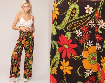 Bell Bottom Pants Floral PALAZZO Pants Bohemian 70s PSYCHEDELIC Hippie Trousers High Waisted Boho Festival Wide Leg Red Small Medium Large