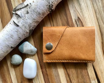 "Leather Wallet ""The Loaded Dave"" in Distressed Caramel w/ cash pocket addition"