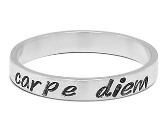 inspirational quote ring, hand stamped message ring, Carpe diem ring, seize the day ring, sterling silver ring