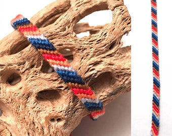 Candy stripe friendship bracelet - string - thread - embroidery floss - woven - traditional - skinny - narrow - small - striped - basic
