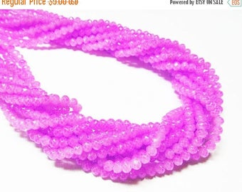 """20% OFF 12.5"""" Glass STRAND - Glass Crystal Beads - Small 3x4.5mm Rondelles - Coated Bright Phlox Purple (12.5 inch strand - 90 beads) - str1"""