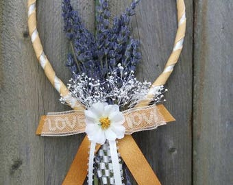 Hand Woven Lavender Basket Gold & White with Vintage Lace