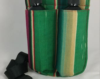Massage Therapy double 8oz lotion bottle hip holster, woven stripes, upcycled, black belt