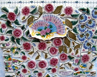 Flowery Fans with lots of Chic Flowers and Leaves broken China Castlegarden Mosaic Tiles