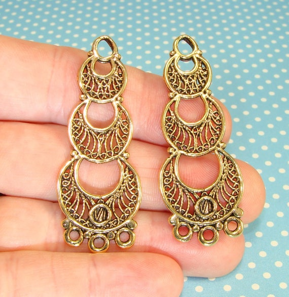 4 Chandelier Earrings Parts Findings Long Connector Components 2 ...