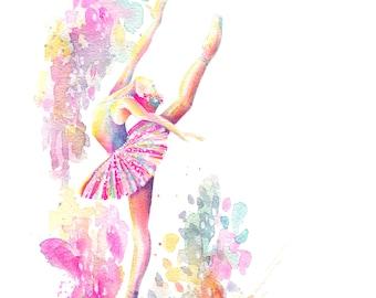 Ballerina Grand - PRINT, High Attitude, ballet, watercolor painting, spatter painting, girl art, nursery art, tutu art