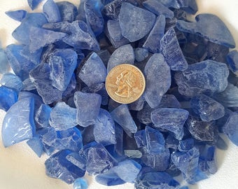 Dark Blue CHUNKY Sea Glass - 5 Pound Bag - Medium to Cobalt Blue Beach Glass in 5# Bags