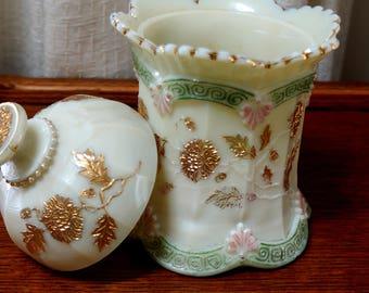Vintage Custard Glass Covered Sugar Bowl Chrysanthemum Sprig Pattern Northwood Enameled EAPG 1888 Gold Green Pink