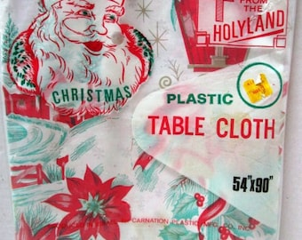Vintage Christmas Tablecloth, Plastic, Made in Holy Land Israel, Carnation Mfg, 54 x 90, New Old Unopened Package, Retro Party, Supply