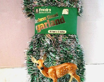 NOS Vintage Deluxe Tinsel Garland Silver + Green, Made in USA for Franks Crafts, Unopened Original Packaging, Christmas Tree Draping Sparkle