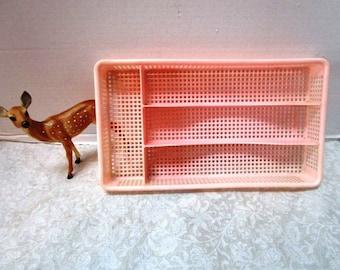 Vintage Drawer Organizer Tray Compartments, Pink Silverware Cutlery Flatware Holder Plastic Separator Kitchen Bathroom Office