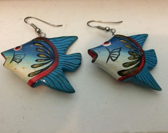 Vintage Wooden Tropical Fish Earrings
