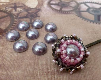 free shipping in UK - 20 pcs plastic pearl cabochon 10mm grey