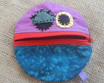 Monster Mouth Coin Pouch in Purple, Turquoise, and Red